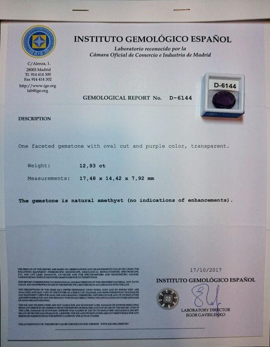 Certificat amethyste 12 93 c est 3 400